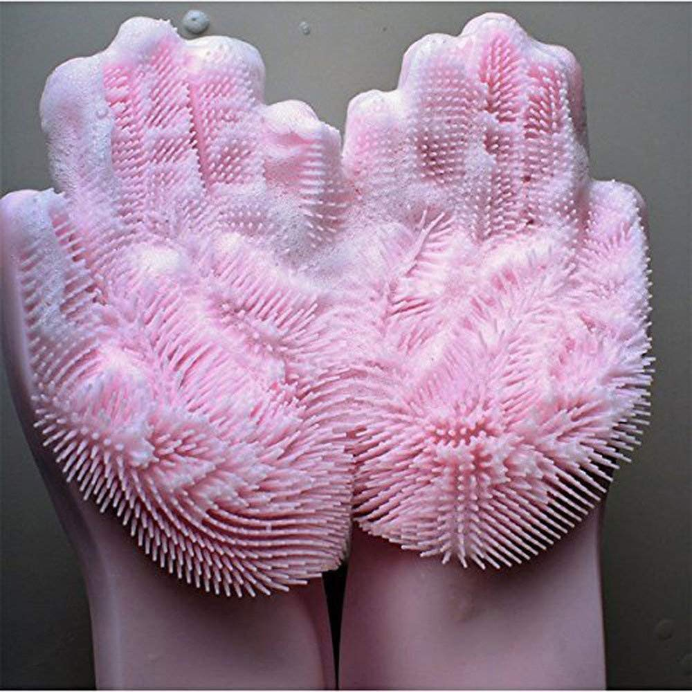 YJYDADA Magic Reusable Silicone Gloves Cleaning Brush Scrubber Gloves Heat Resistant (Pink) by YJYDADA (Image #4)