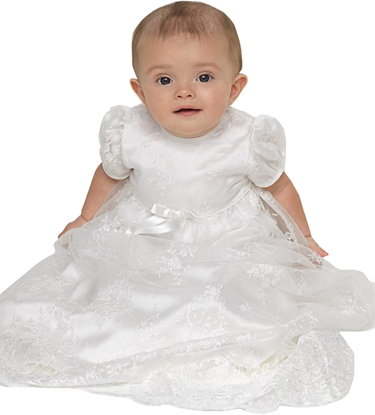 Kelaixiang Infant White Lace Christening Gowns for Baby Girls