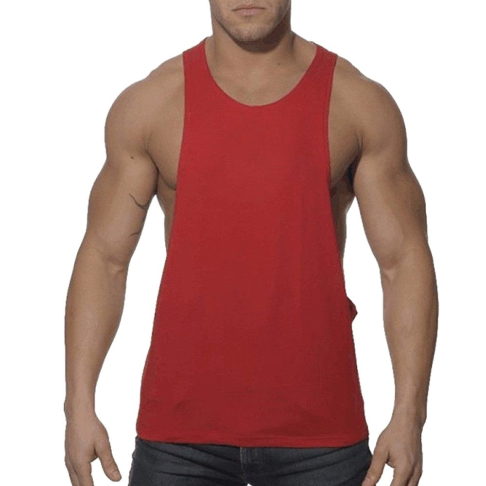 KIKOY Fashion Mens Sleeveless Sport Vest Casual Loose Solid Tank Tops Red
