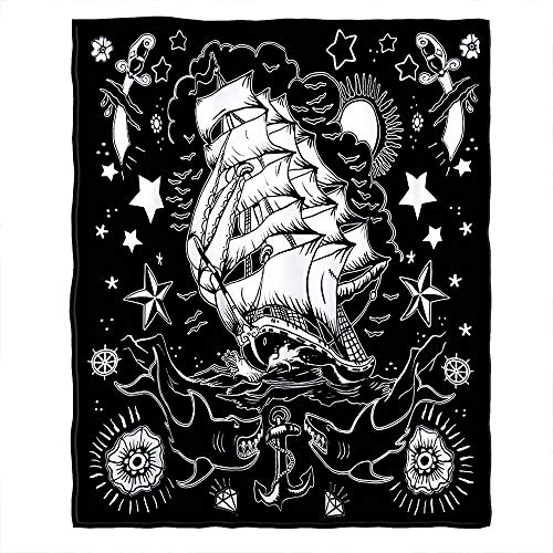 Moslion Soft Cozy Throw Blanket Apparel Nautical Tattoo Fuzzy Warm Couch/Bed Blanket for Adult/Kids Polyester 60 X 80 Inches(Home/Travel/Camping Applicable)