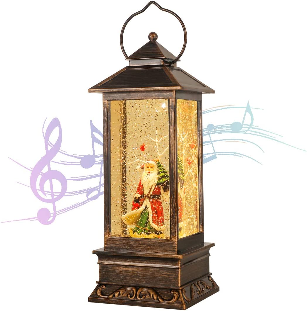Decorative Christmas Musical Snow Globe Lantern with 8 Musics, LED Water Glittering Hanging Xmas Decoration for Home Decor Holiday Party Table Desk Tree, Festival Gift House Ornament ( Santa Claus)