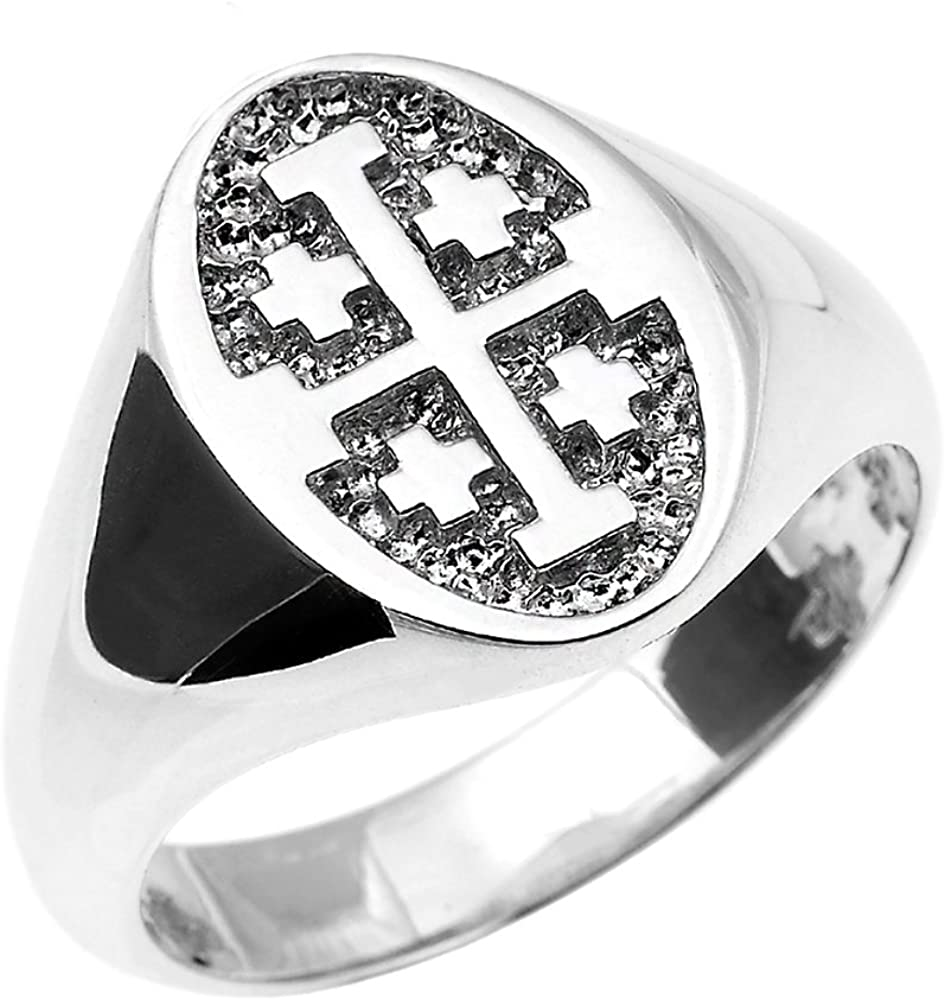 Religious Jewelry by FDJ Fine 925 Sterling Silver Jerusalem Cross Ring