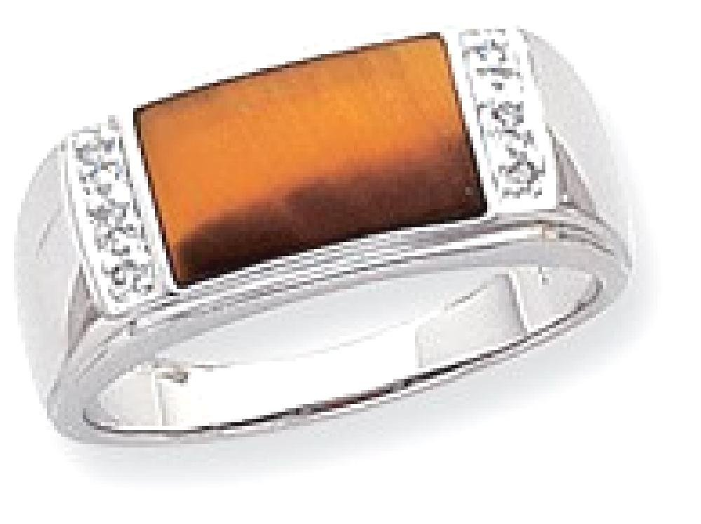 ICE CARATS 14k White Gold Tigers Eye A Diamond Mens Band Ring Size 10.00 Man Fine Jewelry Dad Mens Gift Set