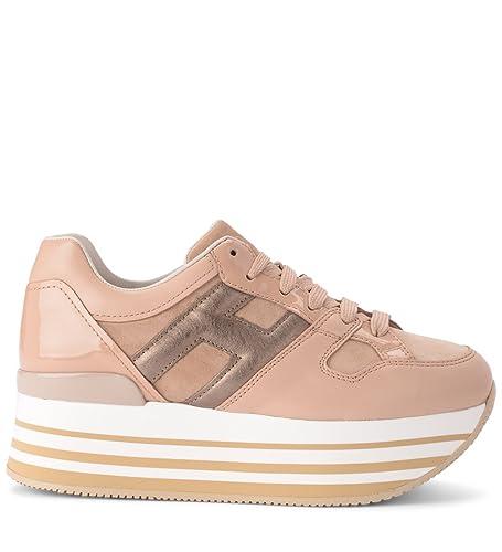 Hogan Sneaker H222 Maxi in Pelle E Suede Rosa 38(EU) -5.5(UK) Beige ... 7b063ebb376