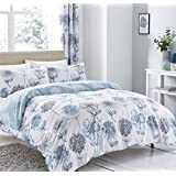 WATERCOLOUR-STYLE FLORAL FLOWERS BLUE GREY COTTON BLEND CANADIAN QUEEN SIZE (COMFORTER COVER 230 X 220 - UK KING SIZE) (PLAIN WHITE FITTED SHEET - 152 X 200CM + 25 - UK KING SIZE) PLAIN WHITE HOUSEWIFE PILLOWCASES 6 PIECE BEDDING SET