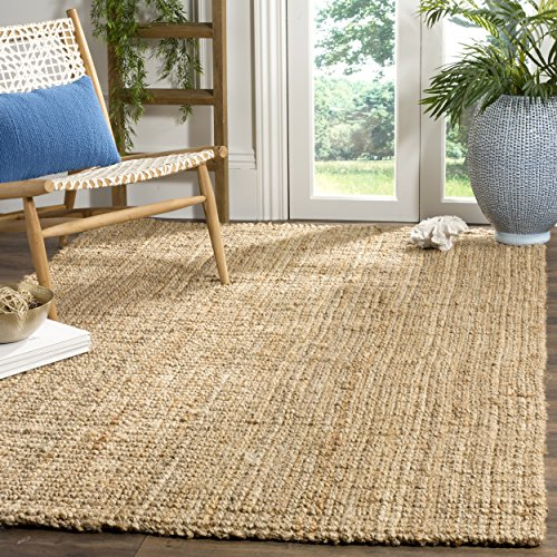 Safavieh Natural Fiber Collection NF747A Hand Woven Natural Jute Square  Area Rug (5u0027 Square)