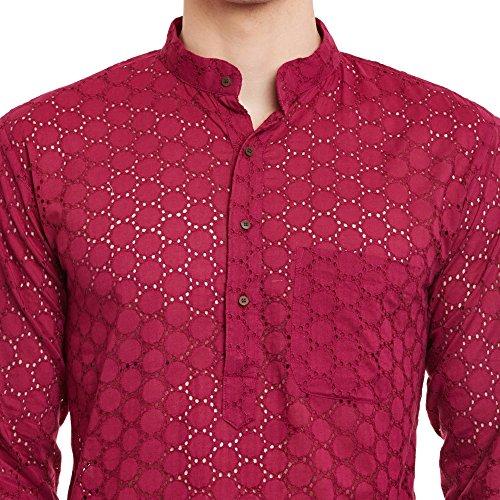 ShalinIndia Herren Bestickt Cutwork Baumwolle Kurta mit Churidar Pyjama Hose Maschinenstickerei, Wein
