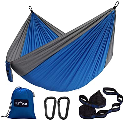 Sunyear Hammock Camping Lightweight Portable Nylon Hammock with 2 Tree Straps (32 Loops,10 ft) & 2 D-Shape Steel Carabiners-Easy to Assemble – Perfect for Camping Backpacking Hiking Travel Beach Yard: Kitchen & Dining