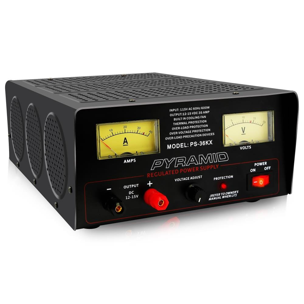 Pyramid Bench Power Supply | AC-to-DC Power Converter | 32 Amp Power Supply with Adjustable Voltage Control (PS36KX)