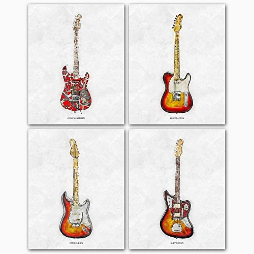 Amazon Com Fender Guitar Wall Art Poster Prints Sketches Of Fender Guitars Of Famous Musicians Eric Clapton Jimmy Hendrix Eddie Van Halen Kurt Cobain Music Wall Art At It S Best Handmade