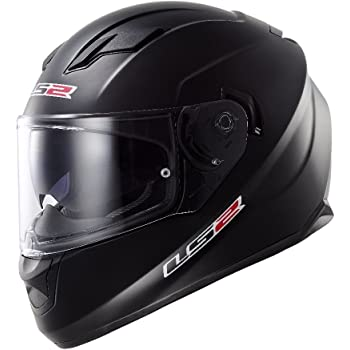 LS2 Stream Solid Full Face Motorcycle Helmet With Sunshield (Matte Black, Small)