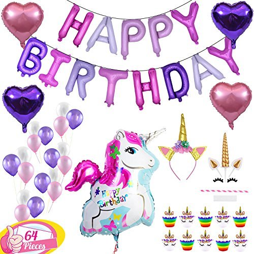 (Unicorn Party Supplies Decorations for Girls - Special 64pcs Compelete Set - Happy Birthday Balloon Banner Cute Pink & Purple Latex Balloons Glitter Headband for Girl Cake Topper & Cupcake)