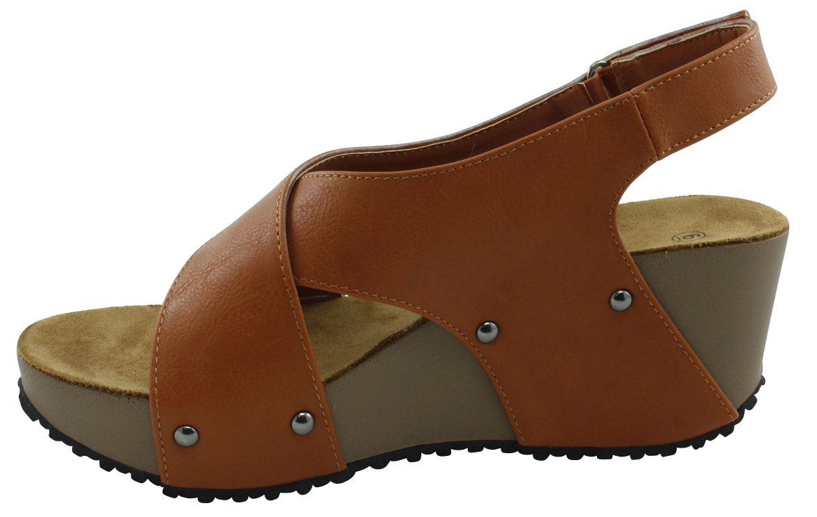 Cambridge Select Women's Open Toe Studded Crisscross Strappy Slingback Platform Wedge Sandal B078TMCVBW 6 B(M) US|Brown