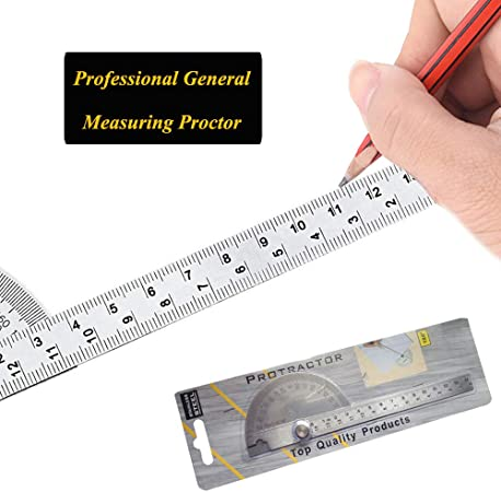 0-180 Degree Stainless Steel Round Head Angle Finder Ruler 100mm Arm Measure Ruler Angle Gauge Protractor
