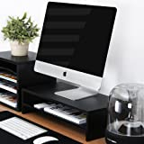 Fitueyes Wood Monitor Stand TV Laptop PC Computer Screen Monitor Riser 2 Tiers W 54 x D 25.4 x H 14 cm Black DT205401WBUK