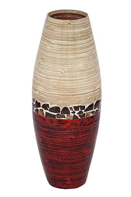 Heather Ann Creations Savannah Collection Decorative Handcrafted Rounded  Shape Natural Bamboo Vase With Large Opening,