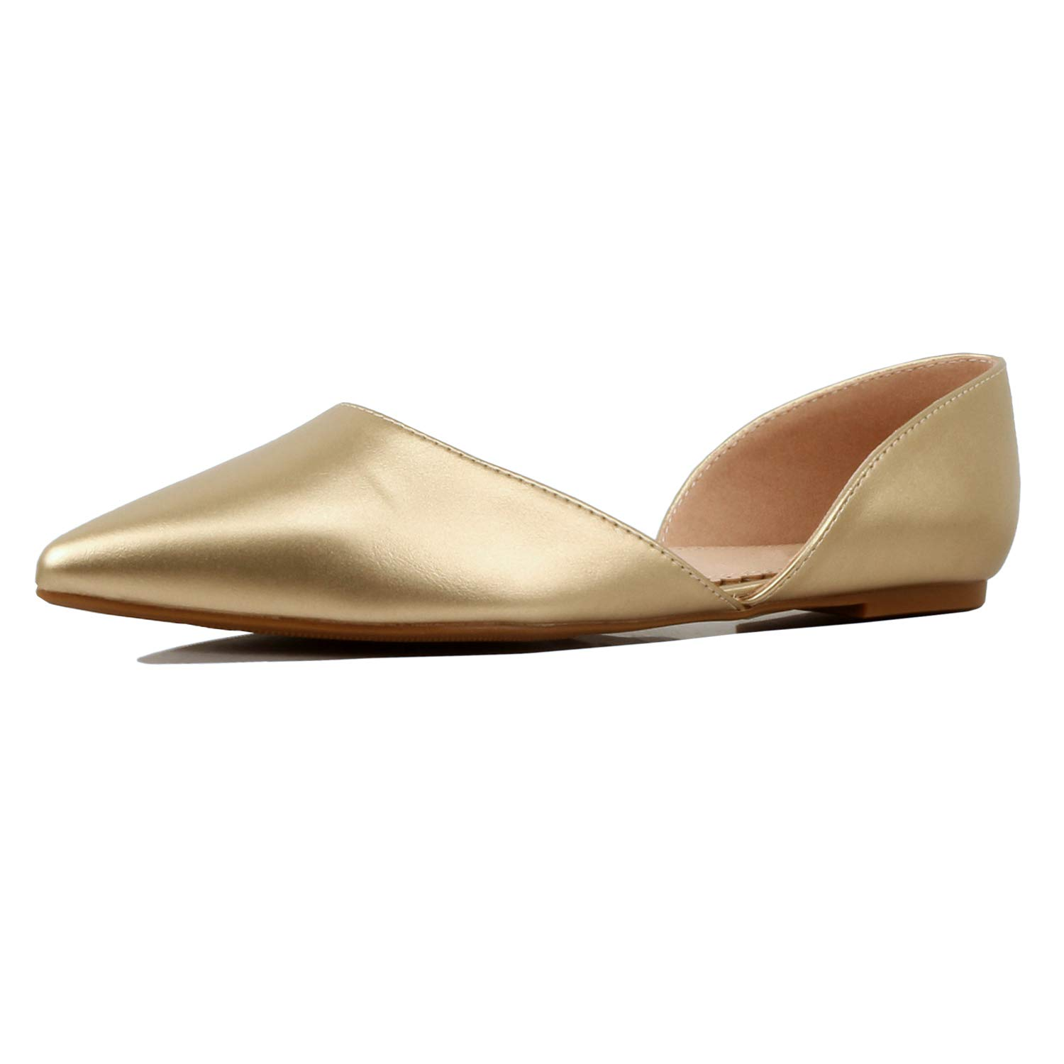 01 gold Pu Guilty Heart Womens D'Orsay Almond Pointed Toe Slip On Casual Flats