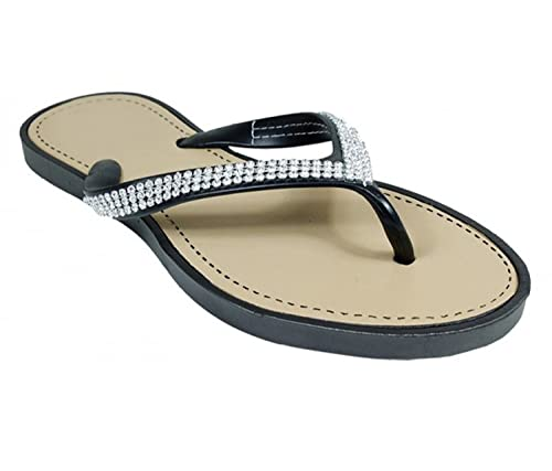 ec1fe57f850 Peach Couture Gem Studded Strap Thong Flat Summer Flip Flop Sandals Black 6