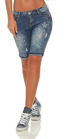 729b57a3e65c34 OSAB-Fashion 5234 Damen Jeans Bermuda Shorts Kurze Hose Hot Pants  Jeansbermuda Panty Destroyed Applikationen