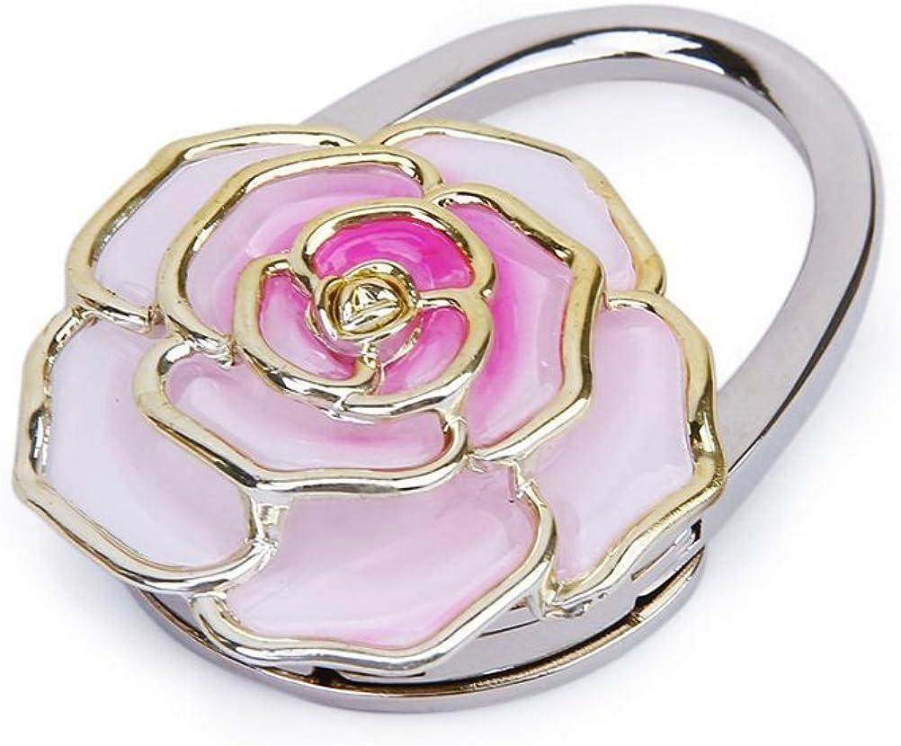 Rose Flower Rhinestone Foldable Handbag Tote Purse Hanger Hook Holder White