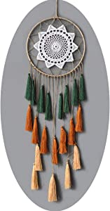 Dream Catchers Crafts for Teens Girl Bedrooms Decor Boho Nightmare Crochet Sun Floral Woodland Traditional Dreamcatcher Windchime for Boy Room Decorations, Baby Shower, Toddler Crib,Gold Green Orange