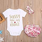 Newborn Baby Girls Sassy Romper+Floral