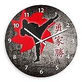 Ninja Wooden Wall Clock Silent Non-ticking Wall Clocks Decorative for Living Room Bedrooms Nursery Clock Children Watch