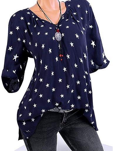 Loolik Camisa Mujer Borde de Camiseta con Cuello en V Manga ...