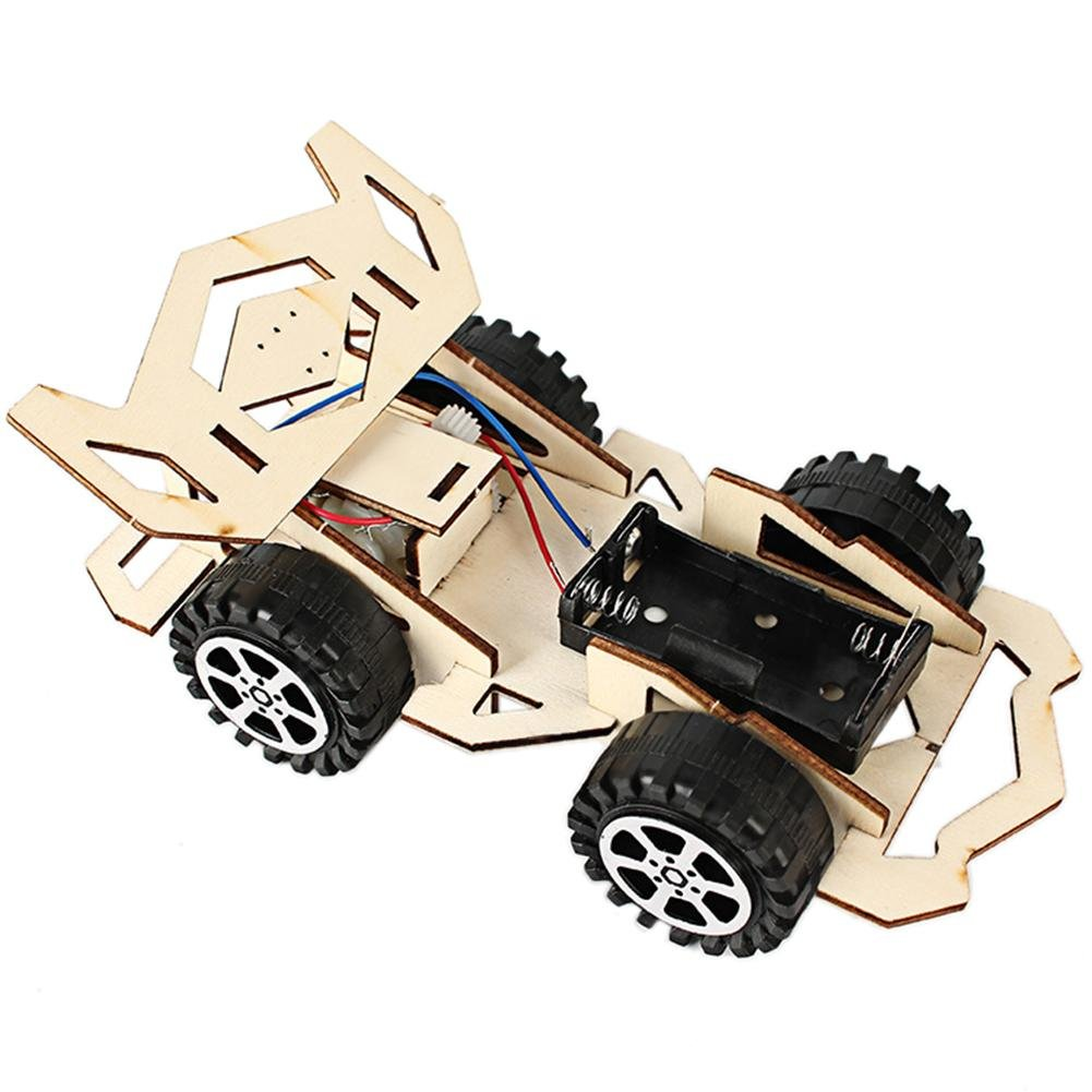 Akaddy Scientific Experiment Educational DIY Electric Wood Racing Car Assembled Puzzles Scientific Experiment Toy