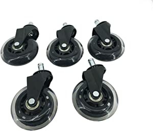 """FixtureDisplays5PK Office Chair 3"""" Castors Wheels Replacement Rubber PU Chair casters for Hardwood Floors and Carpet Heavy Duty Office Chair STEM Size 7/16"""" x 7/8"""" 15245-NF No"""
