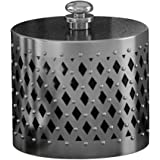 nu steel The Tatara Group's Platinum Cotton Swab/Cotton Container, Geometric, Brushed