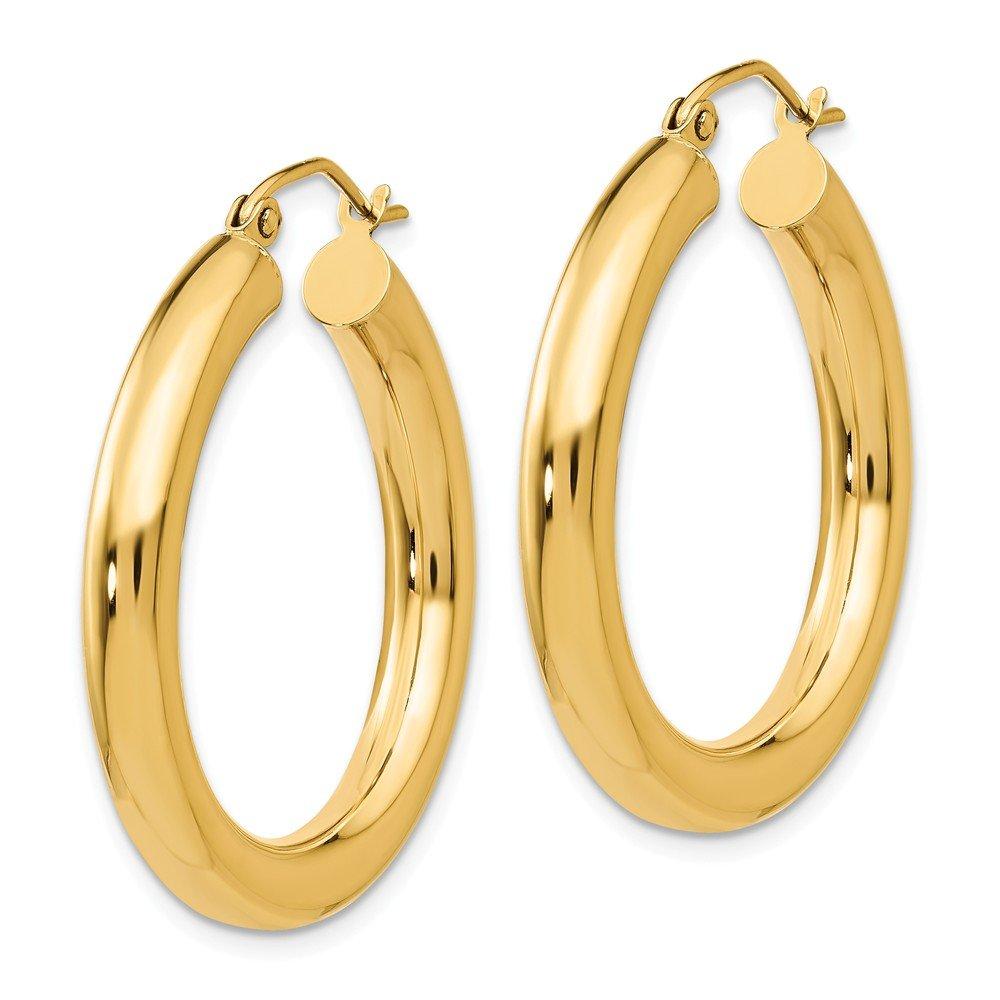 Mia Diamonds 14k Yellow Gold Polished 4mm Lightweight Round Hoop Earrings