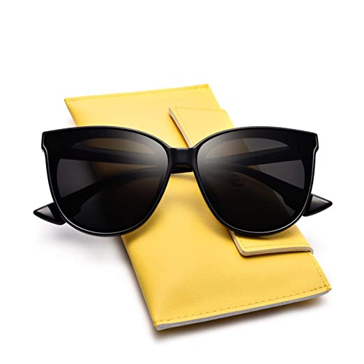 56f4f78e68 Mosanana Classic Round Cateye Sunglasses for Women Trendy Style Dark Black Retro  Vintage Cat Eye Stylish