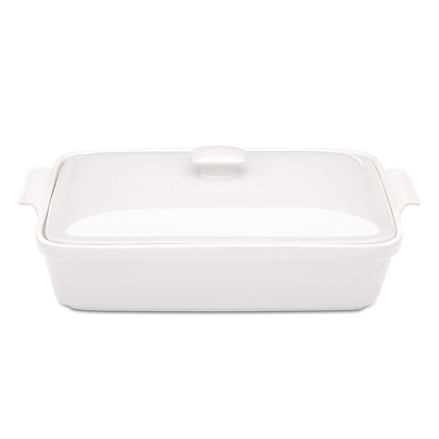 Rossallini Stoneware Casserole Dish Bakeware Set with Lid, Covered Rectangular Dinnerware, Large 4 Quart, 13 by 9 Inch (Glossy White)