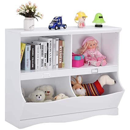 Costzon Toy Organizer Shelf Multi Bin Storage Bookshelf With Footboard White