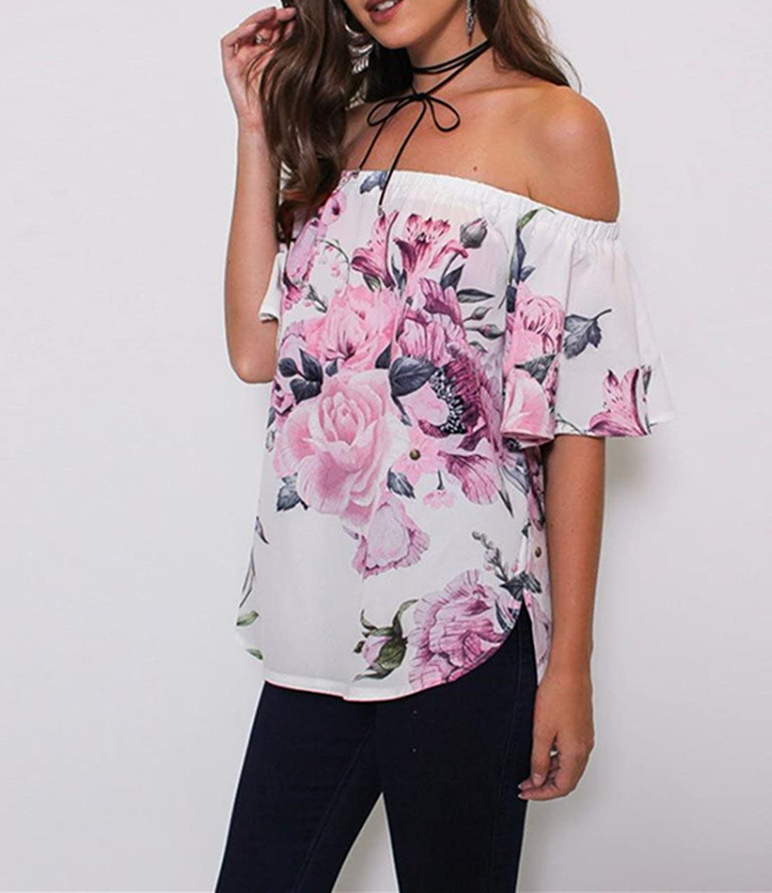 cc58883f1765a1 VEMOW 2018 Spring Summer Tops For Women Fashion Off Shoulder Slash Neck  Lovely Sexy Energetic Beach Party Floral Printed Blouse Casual Tops T Shir  Crop Cute ...