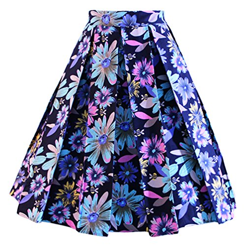 Dressever Women's Vintage A-line Printed Pleated Flared Midi Skirt Colorful Daisy (Navy) Large