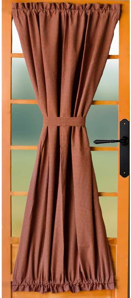 Home Collections by Raghu Newbury Gingham Barn Red Unlined French Door Panel