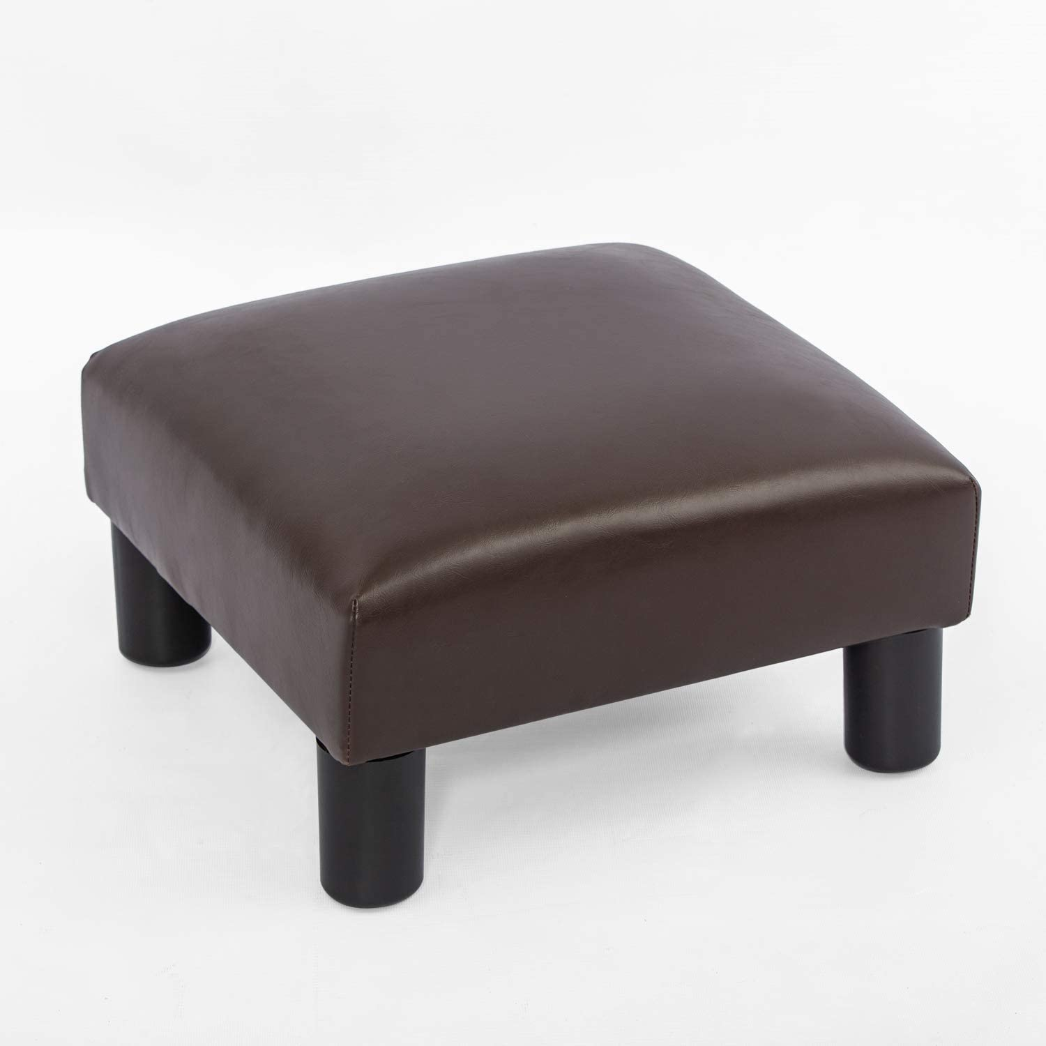 Joveco Ottoman Footrest Stool Small PU Leather Square Footstool (Brown)