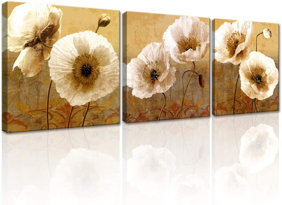 """DekHome Poppy Canvas Wall Art 3 Pieces Flower Canvas Painting Beige Flower Pictures Vintage Artwork Ready to Hang for Bathroom Wall Decor 12""""x12""""x3 Panels"""