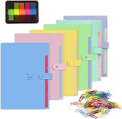 TLBTEK - Carpeta organizadora de archivos, tamaño A4, ampliable para concertina, archivadores de documentos con cinco bolsillos y 4 pestañas: Amazon.es: Oficina y papelería