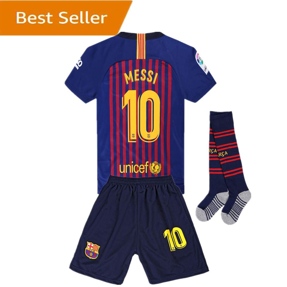 158bd8406 Amazon.com  Newkidsjs Barcelona  10 Messi Kids and Youth Soccer Jersey    Shorts   Socks 2018-2019 Home Red Blue  Clothing