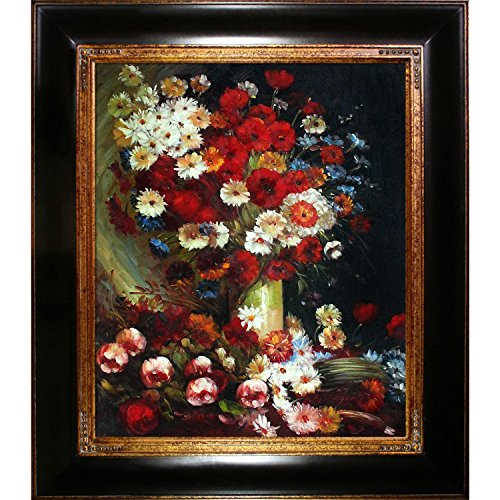 Original Oil Painting Canvas (overstockArt Vase with Poppies Cornflowers Peonies and Chrysanthemums Framed Oil Reproduction of an Original Painting by Vincent Van Gogh)