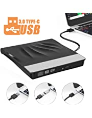 LittleBaby Masterizzatore CD Dvd Esterno, unità Dvd Esterna USB 3.0 Tipo-C Dual Port Dvd/CD Drive Dispositivo Lettore di Schede Portatile Ultra Slim External Disc per Windows 10/XP/Vista/7/8/MacBook