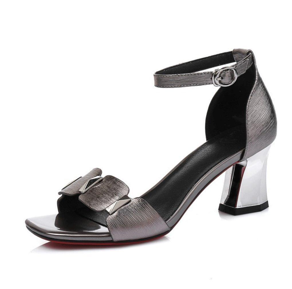 HJHY® Sexy Europa y América Sandalias de Mujer Chapado en Piel Genuina Zapatos Gruesos de Tacón Alto Zapatos de Mujer Elegantes Sandalias con Punta Abierta 37 EU