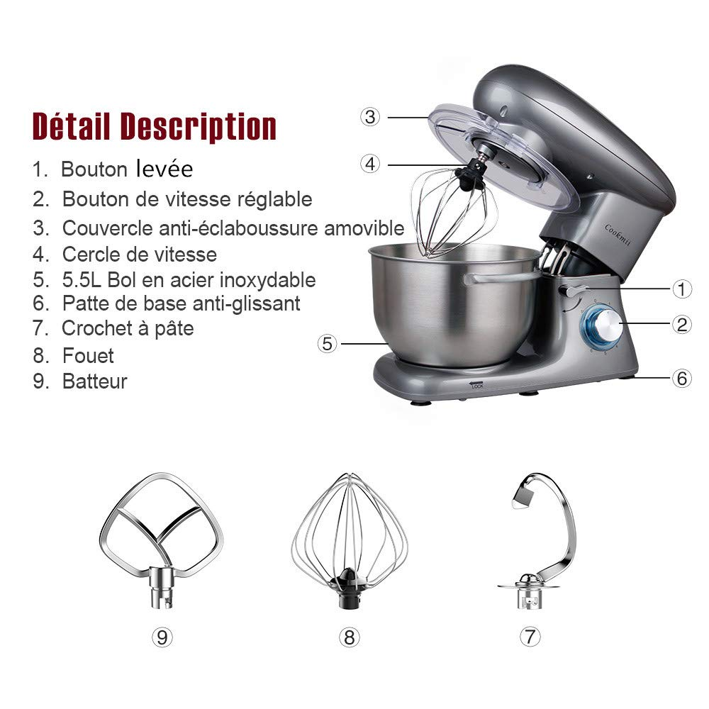 Cookmii Batidora Amasadora Repostería Profesional 1500W Robot de Cocina Multifuncional 6 Velocidades Amasadora de Bajo Ruido para Repostería Gancho Batidor ...
