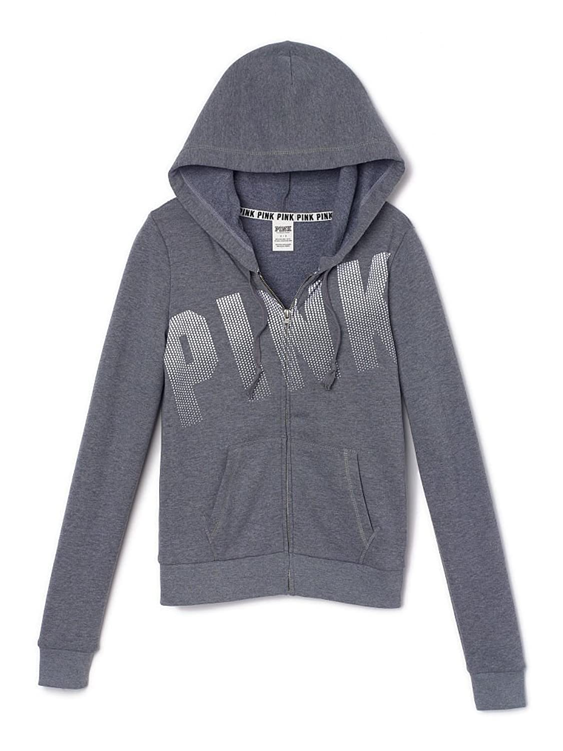 Victoria's Secret PINK Perfect Full-Zip Hoodie X-Small Clay Grey ...