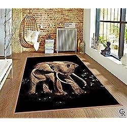 "Bold African Elephant Tusks Modern Safari Animal Carpet Area Rug (5' 3"" X 7' 5"")"