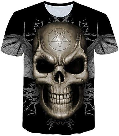 DXXHR 2018 Nueva Marca de Camiseta de Calavera Ropa de Sangre Ropa Divertida Camisetas de Hip-Hop Tops 3D Camiseta de Manga Corta para Hombre Moda ...
