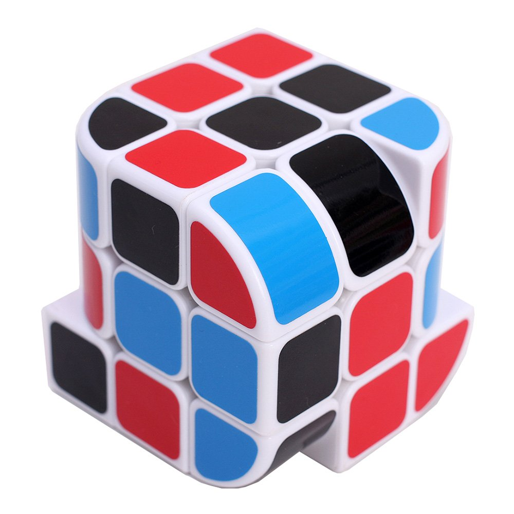 HJXD globle New Structural Design of Curved Trihedron Magic Cube 3x3x3 Puzzle Cube White